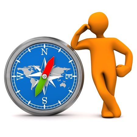 encounter: Orange cartoon character with big compass. White background. Stock Photo