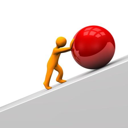 大きな赤い球とオレンジ色の漫画のキャラクター。