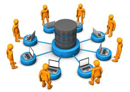 Orange Cartoon-Figuren mit Datenbank verbunden. Weiß Hintergrund. Standard-Bild