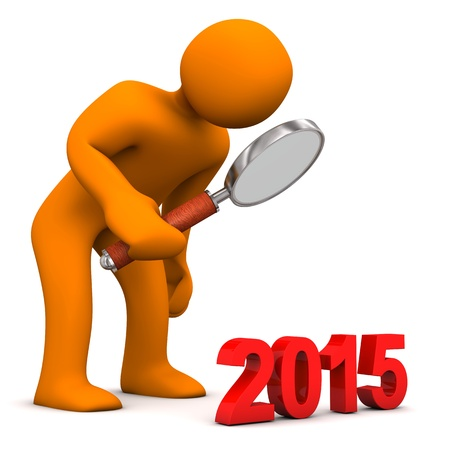 Orange cartoon character with a loupe and the year 2015. photo