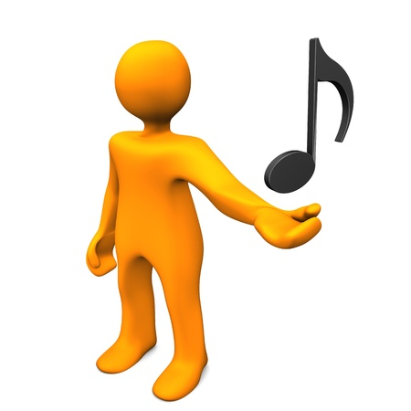 Orange cartoon character with music note. White background.