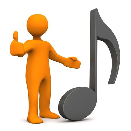 Orange cartoon character with big music note. White background.