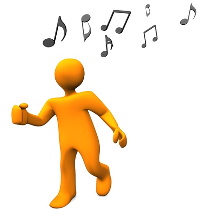 Orange cartoon character dances with music notes. photo