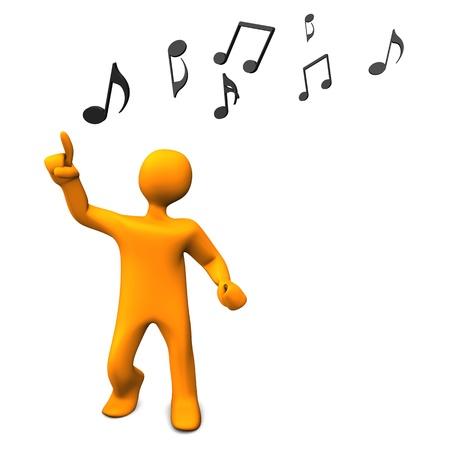 puppet woman: Personaje de dibujos animados de Orange baila con las notas musicales. Foto de archivo