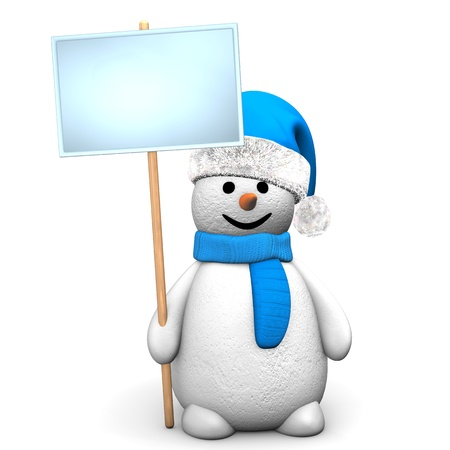 Blue snowman with sign board  on the white background. photo