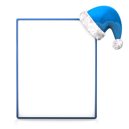 father frost: Blue signboard with father frost cap on the white background.