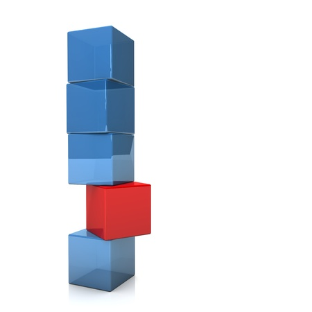 dispensing: Four blue and one red cubes on the white background. Stock Photo