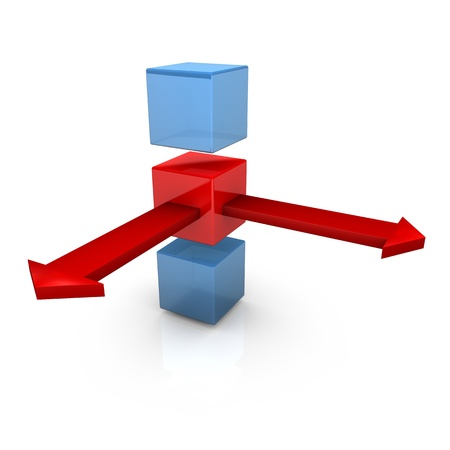 outward: Three cubes with two red arrows on the white background. Stock Photo