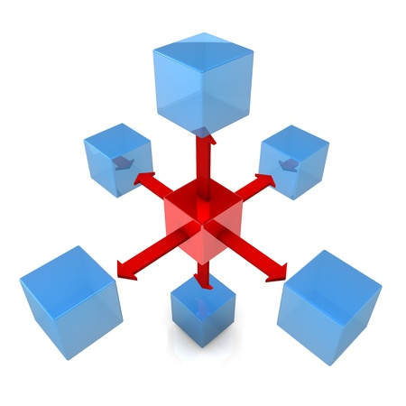 dispensing: Blue cubes with a red cube and red arrows on the white background.