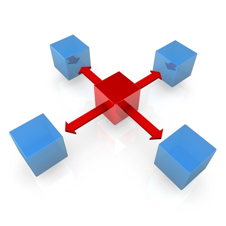 sectoring: Blue cubes with a red cube and red arrows on the white background.