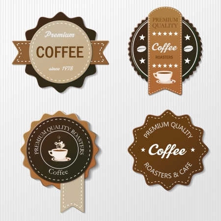 etiquette: Four coffee labels with text