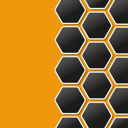 Honeycomb labels on the orange background with yellow stripes