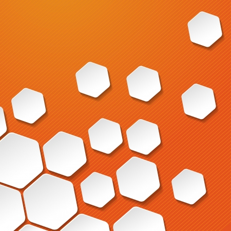 White paper hexagon labels with orange background Vector