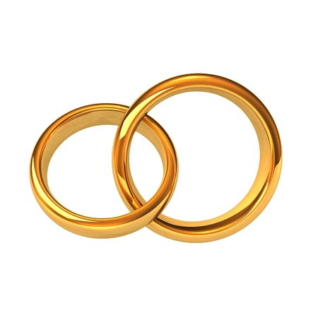 wedding band: Two golden rings on the white background. Stock Photo