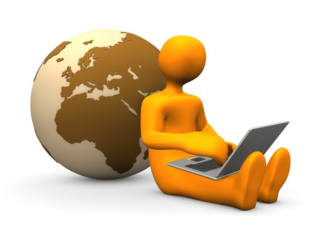 Orange cartoon character with laptop and globe. photo