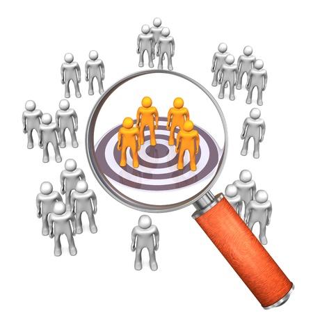 target business: Grupos destinatarios con destino y la lupa en el fondo blanco.
