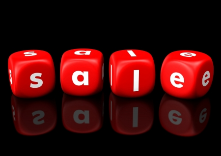 Red cubes with the white text Sale. Black background. Stock Photo - 20200393