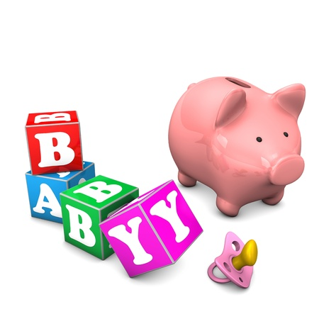 Piggy bank with baby cubes and binky on the white background.