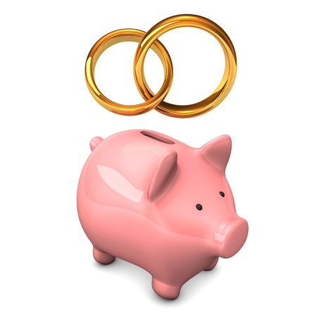 accountig: Pink piggy bank with golden wedding bands. White background.