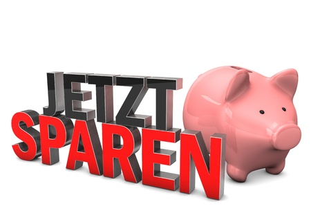 accountig: Piggy bank with german text Jetzt Sparen, translate Save Now. White background. Stock Photo