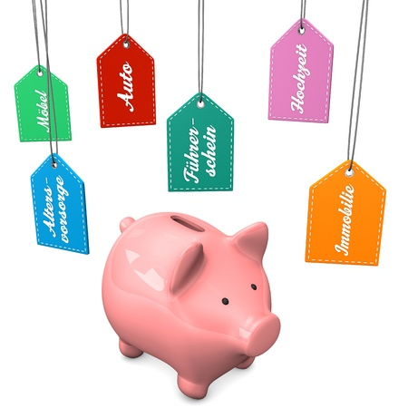 accountig: Piggy bank with german text Moebel, Altersvorsorge, Auto, Fuehrerschein, Hochzeit, Immobilie translate Furniture, Pension, Car, Driver License, Wedding and Property.