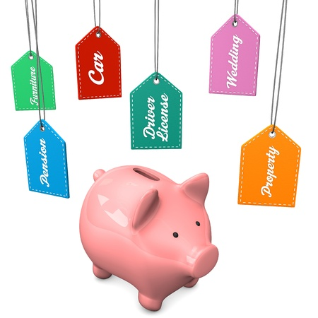 Pink piggy bank with expensive desires. White background. Stock Photo - 20200389