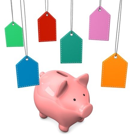 accountig: Piggy bank with colorful shopmarks on the white background.