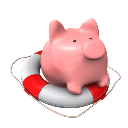 accountig: Piggy bank on the lifebelt. 3d illustration with white background.