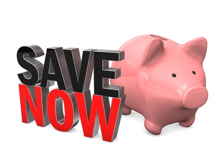 Piggy bank with text Save Now. White background. Stock Photo