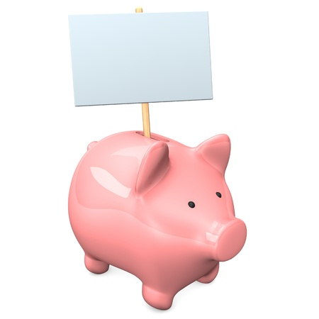 accountig: Pink piggy bank with signboard on the white background. Stock Photo