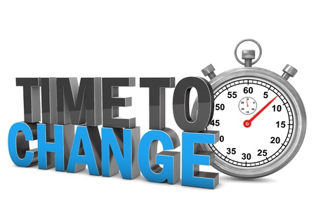 business change: Stopwatch with text Time To Change. White background. Stock Photo