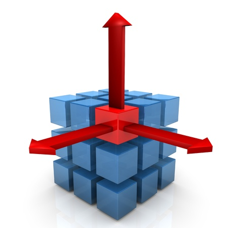 sectoring: Cubes with three red arrows on the white background.