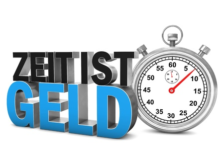 Stopwatch with german text Zeit Ist Geld, translate Time Is Money. White background. Stock Photo