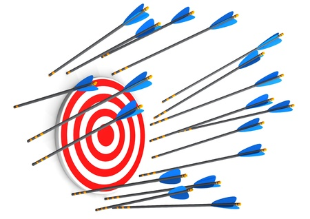 failed strategy: Red target with missed arrows on the white background.