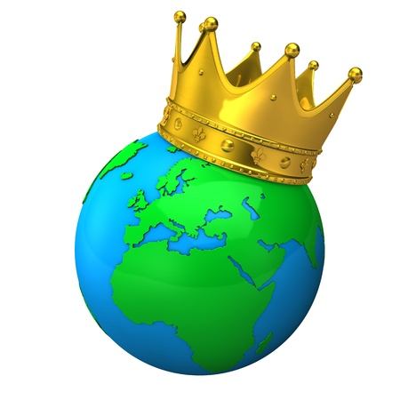 Globe with golden crown on the white background. photo