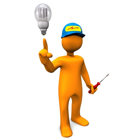 electrician with tools: Electrician with LED-Bulb on the white background. Stock Photo