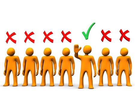 Selezione dei candidati toon arancio su fondo bianco.