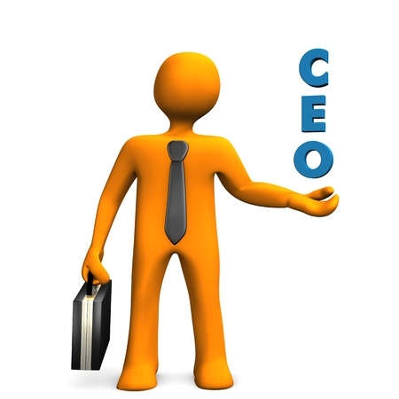 Orange cartoon character with text CEO. White background.