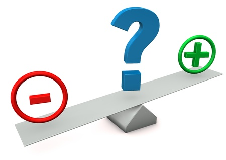 drawback: Balance with plus, minus and question mark. Stock Photo