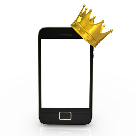Smartphone with golden crown on the white background. photo