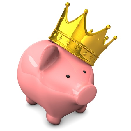 Piggy bank with golden crown on the white background.