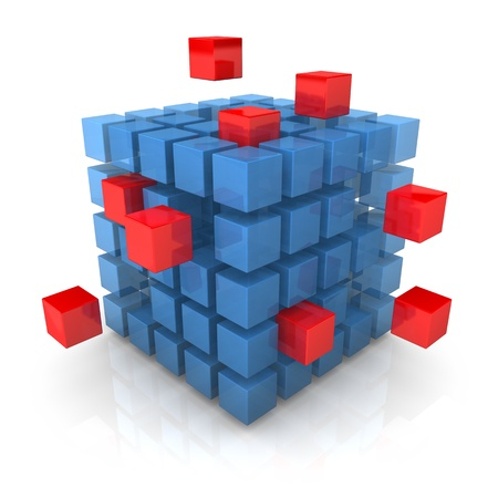 outward: Big blue cube with smal red cubes on the white background. Stock Photo