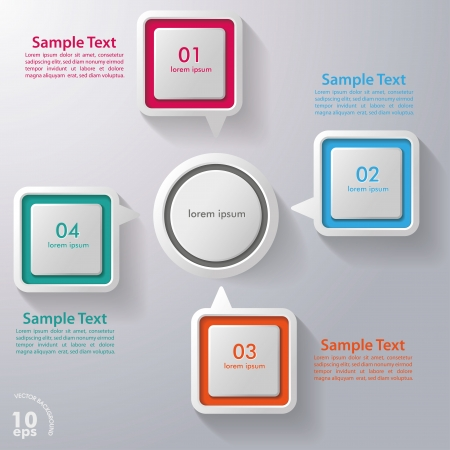 Four colorful speech bubbles on the grey background Vector