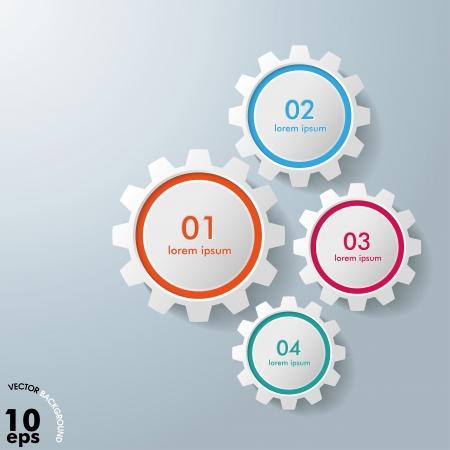 workflow: Engrenages infographiques color�s sur le fond gris
