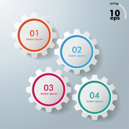 Colorful infographic gears on the grey background
