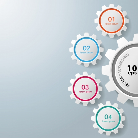 Colorful infographic gears on the grey background Vector