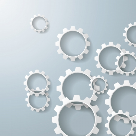 quadrat: White gears on the grey background