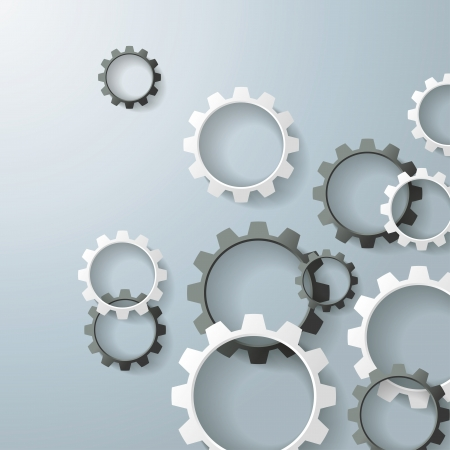 quadrat: Black and white gears on the grey background Illustration