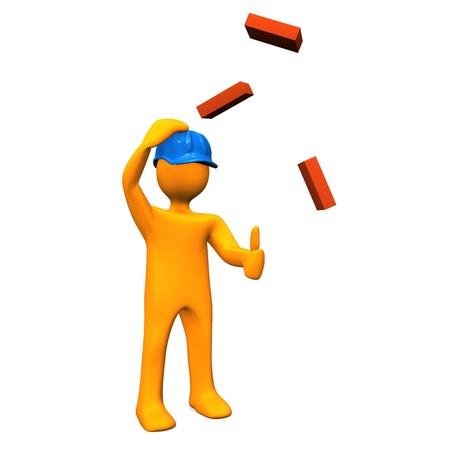 safety check: Personaje de dibujos animados naranja con casco azul y los ladrillos rojos Foto de archivo