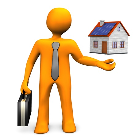 Realtor: Orange cartoon character with a small house  White background